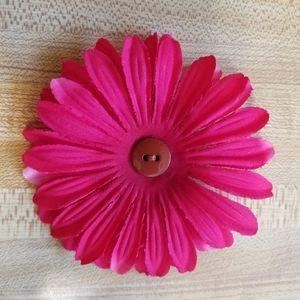 handmade dark pink flower clip with brown button